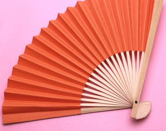 10 pcs DIY Orange Paper Hand Fans