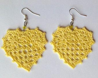 Yellow crochet hearts earrings