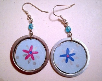Recycling blue floppy disk earrings