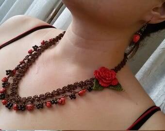 Necklace romantic rose flower.