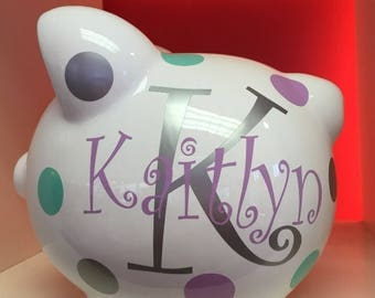 Personalized Piggy Bank-Piggy Bank-Piggy Bank for girls-Custom Piggy Bank- Monogramed Piggy Bank-Gift- Girls piggy bank-Kaitlyn font