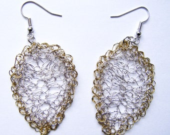 Crocheted silver metal and gold earrings