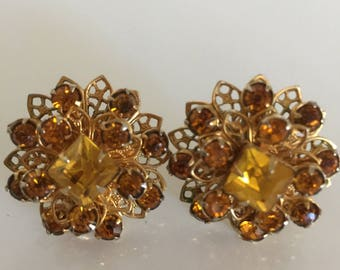 Vintage Amber Color Cluster Earrings, Mid Century Cluster Clip Ons