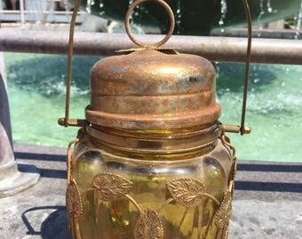 Mid Century Amber Glass Music Jar-Vintage Garden Decor-Japan