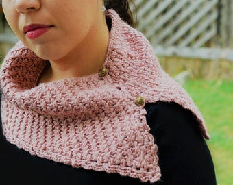 Hand knit pink scarf