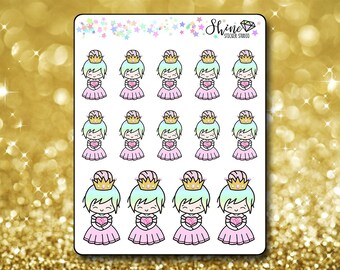Luna Princess Stickers - Planner Stickers Erin Condren Life Planner Cute Emoji Princess Character Girl Stickers  Happy Planner