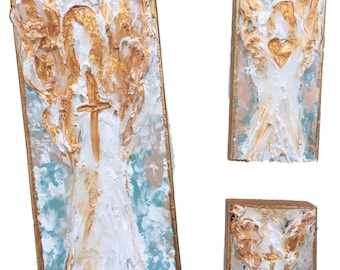 Abstract Angel Wooden Block Painting (md)