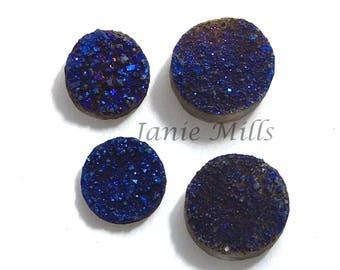 Druzy Metallic Blue Quartz Cabochon