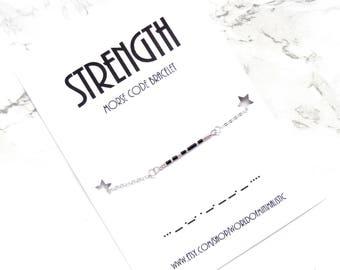 STRENGTH morse code bracelet morse code jewelry friendship bracelet minimalist dainty jewelry minimalist bracelet delicate chain bracelet