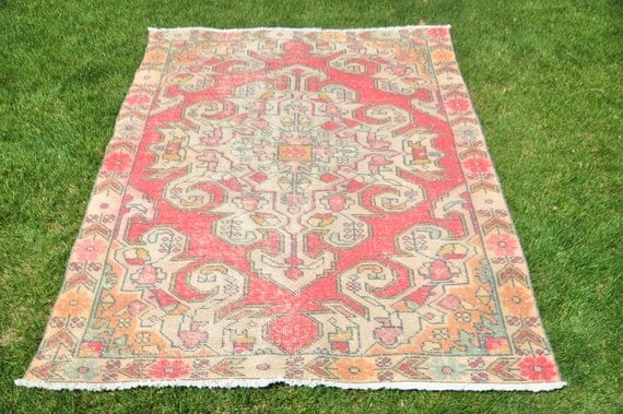 Vintage Rug,Oushak Rug,Vintage Oushak Rug,Vivid Bold Colors Shabby Rug,New Trend Low Pile Hand Made Turkish Rug,138x208 cm/4'6''x6'10'' feet
