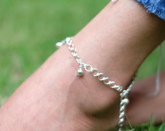 Silver Anklet, Shell Anklet, Minimal Anklet, Silver Link Anklet, Gift Anklet, Gypsy Jewelry, Simple Anklet, Beach Anklet, Foot Chain,  AS103