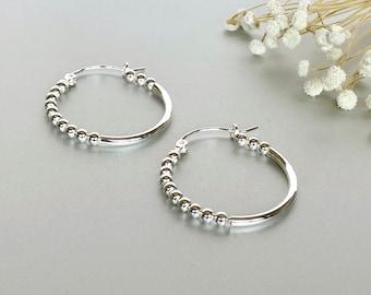 Silver Ear Hoops, Sterling Silver Ball  Ear Hoops, Simple Ear Accessories, Bohemian Jewelry, Silver Ear Hoops, Gift Earrings, (E220)