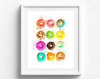 Donut drawing, kids room art print, donut print, food art, kitchen wall art, kitchen decor, kitchen poster, cooking art, kitchen pictures