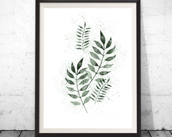 Botanical art print, Watercolor leaf art, Nature art print, Home decor, Watercolour print, Leaf art print, Watercolour, Apartment wall art
