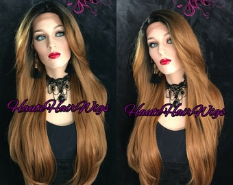 Rooted Honey Blonde Ombre Long Straight Human Hair Blend Lace Front Wig - Mimi