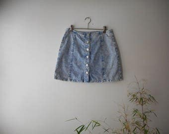 80s/90s Acid Wash Denim Mini Skirt Grunge Vintage Style