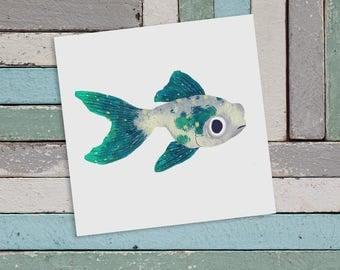 Green Goldfish Art Print