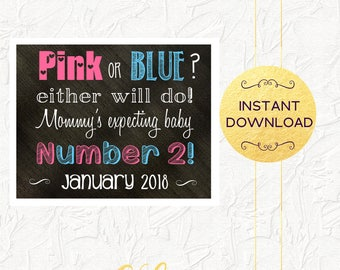 Pink and Blue Pregnancy Announcement, Mommy's Expecting Baby Number 2 Chalkboard, Due January 2018, Pregnancy Reveal, Instant Download