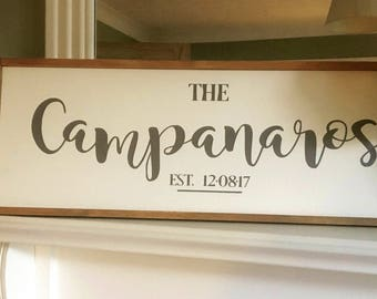 Personalised wooden family sign established farmhouse