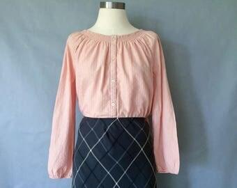Vintage blush/pink button down blouse/shirt/top women's size S/M