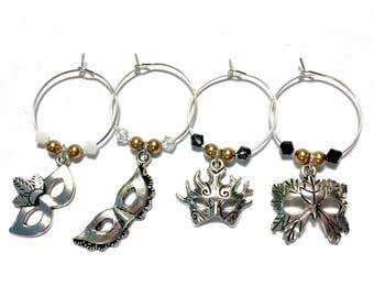 Masquerade Ball Black and Gold Gala wine charms with swarovski crystals and pearls