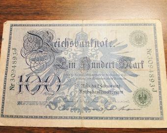 1908 German 100 Mark Note - Reichsbanknote - Great Find!