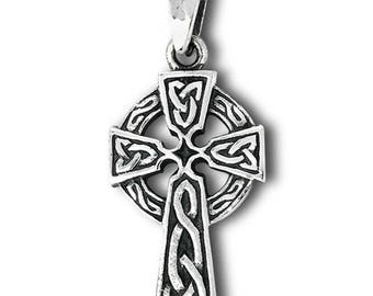 925 Sterling Silver Cross with Triquetra Pendant