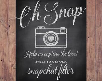 Wedding snapchat filter sign - swipe to use our snapchat filter - rustic snapchat wedding sign - PRINTABLE 8x10 - 5x7