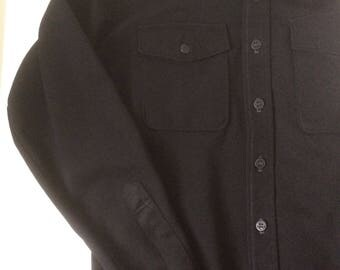 Vintage Mens Black Button Up Longsleeve Shirt - Retro Rockabilly Style