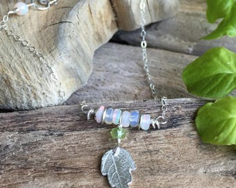 Pretty necklace/gift for her/woodland jewelry /fine silver leaf/peridot /Ethiopian opal/sterling silver