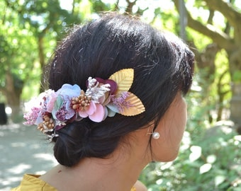 Semi Crown golden flowers, pink, white and water green - romantic, Bohemian hair accessories.