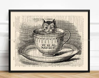 Cheshire Cat Poster, Wonderland Gift, We Are All Mad Here, Sister Poster Gift, Cheshire Wonderland, Alice Quote Decor, Alice Rustic 104