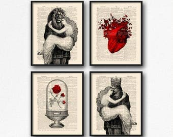 Enchanted Rose Decor, Beauty and the Beast, Cool Girlfriend Art, Mystery Print Set, Beauty Beast Art Set, Funny Girlfriend Art, Funny  S14