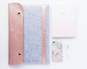 "Rose Gold And Grey Felt MacBook Case MacBook Pro 15"" MacBook Retina 15"" MacBook Pro 13"" MacBook Retina 13"" MacBook 2017 MacBook Case Rose"