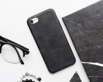 Black Faux Leather iPhone Case - iPhone 7 Case, iPhone 7 Plus Case, iPhone 6s Case, iPhone 6s Plus Case, iPhone 6 Case, Black Leather iPhone
