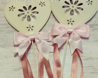 Flower girl bridesmaid wand with bow and ribbons  wedding flower alternative
