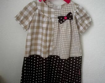 Dress child - 2/3 years - a line - Plaid and polka dots - Brown and beige - pink buttons and bow - gift idea