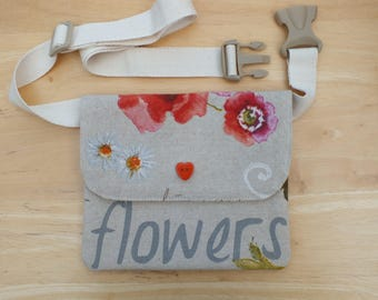 Rustic Poppy Belt Bag, Hip Purse, Bum Bag, Waist Bag, Money Belt, Flat Fanny Pack or Travel Wallet