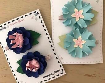 Pair of Hair Clips, Flower Hair clip, Mini Paper Flower Hair Clip