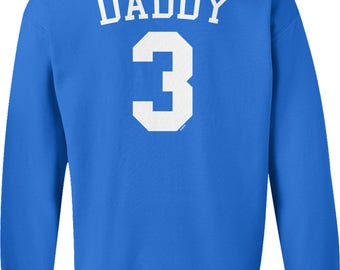 Back Print, Daddy 3, Jersey Number Design, Happy Father's Day Crew Neck Sweatshirt, NOFO_01284