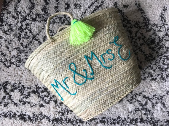 Personalised custom bespoke made to order wool embroidered name writing Moroccan French market shopping beach basket with tassel