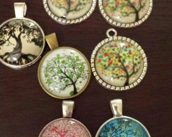 7 tree  glass cabochon pendants  destash  clearance #p10