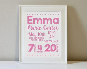 Personalized Birth Announcement Wall Art (Single Color)