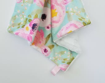 Floral Mint Watercolor Lovey, Baby Girl Blanket, Minky Blanket, Baby Girl Lovey, Watercolor Floral, Baby Girl Blanket, Minky Baby Blanket