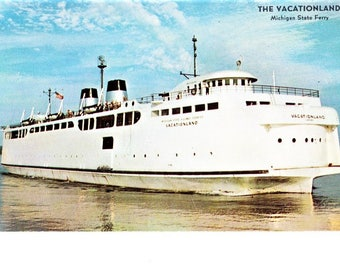Vintage MI Michigan State Ferry Ship Boat Postcard Mackinaw City St. Ignace Travel Souvenir Unposted