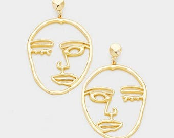 Face Earrings, Face Earrings Wire, Face Earrings Rose Gold, Face Earrings Silver, Face Earrings Wire, Geo Earrings Gold, Gold Eye Earrings