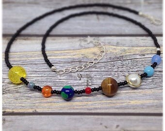 Solar System Necklace, Space Necklace, Galaxy Necklace, Earth, Jupiter, Mars, Venus, Stars, Sci-Fi, Science Necklace, Ella Rose,