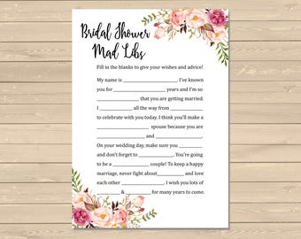 Boho Bridal Shower Mad Libs Printable Activity, Floral Mad Libs Printable Activity, Boho Peonies Game, DIY Mad Libs, Instant Download, 110-W