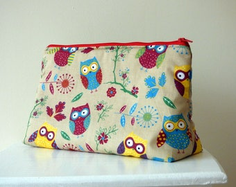 Owl Wash Bag, Toiletry Bag, Large Cosmetic Bag, Bird Beauty Bag, Travel Bag, Large Zipper Pouch, Owl Lover Gift, Gift for Her