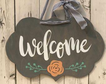 Couronnes et affichettes de porte etsy ca for Decoration porte bienvenue